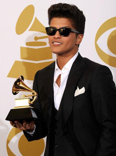 Bruno Mars backstage at the Grammy Awards