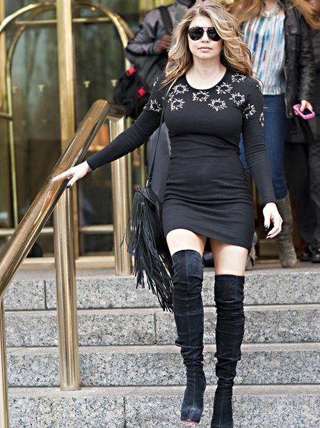 fergie in knee high boots