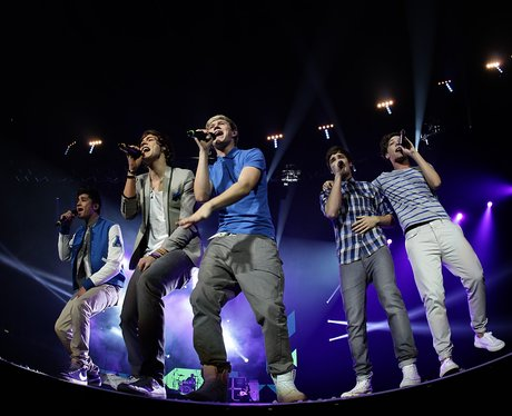 One Direction live on stage performing at the 2011 Jingle Bell Ball at the O2 Arena