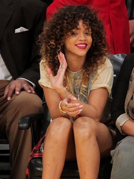 Rihanna attends the Los Angeles Lakers vs Memphis