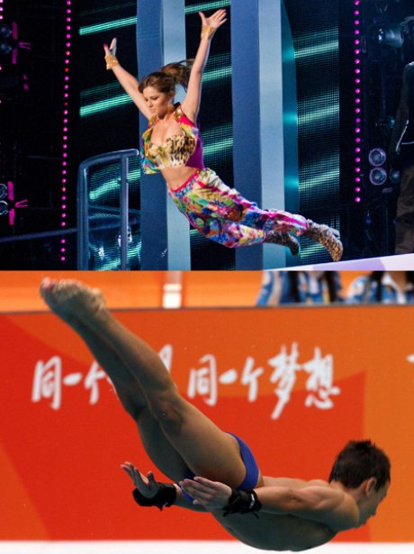 Cheryl Cole and Tom Daley dive