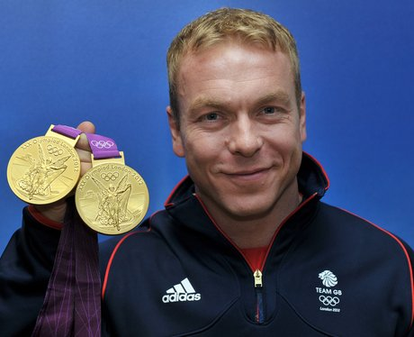 Chris Hoy with his two gold medals
