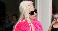 Lady Gaga wearing a pink fur coat in New York