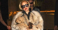 Lady Gaga wears a fur coat while carrying her dog