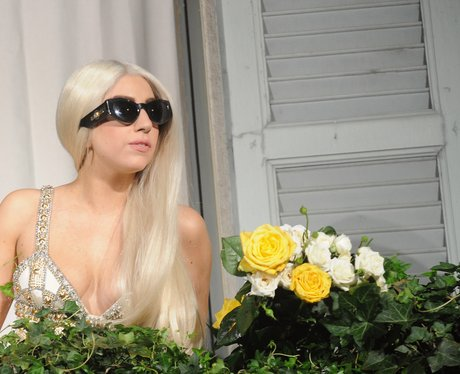 Lady Gaga shows off blonde hair in Milan.