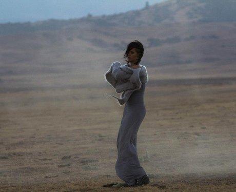 Rihanna wearing grey dress