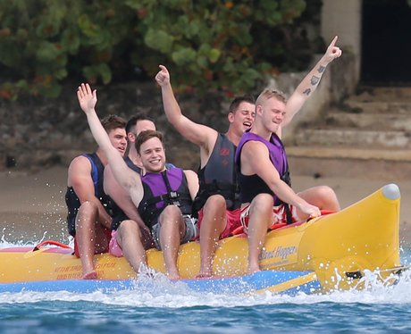 Olly Murs is spotted  on a banana boat