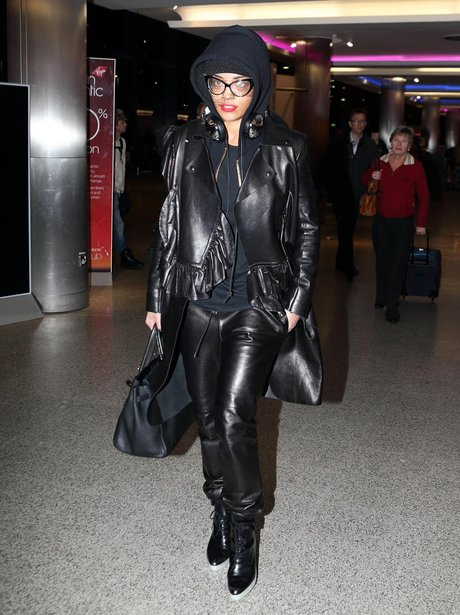 Rita Ora wearing big glasses at the airport