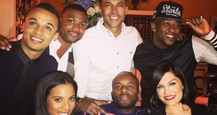 Jessie J, JLS and Rochelle Wiseman having dinner