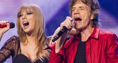 Taylor Swift and Mick Jagger on stage