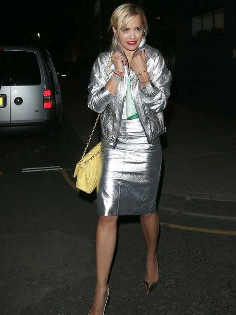 Rita Ora wearing Silver jacket and skirt