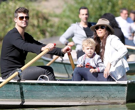 Robin Thicke and Family  on a rowing boat