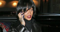 Rihanna wearing a leather outfit