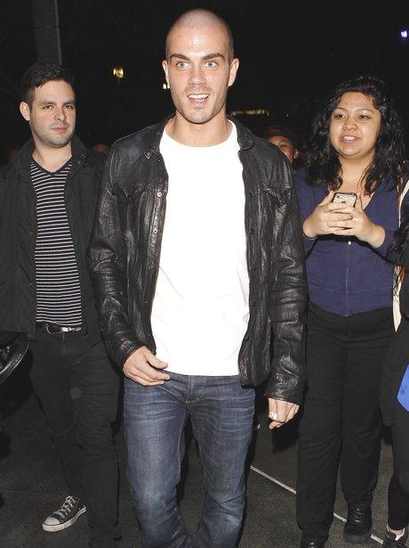 Max George at Miley Cyrus' Bangerz tour