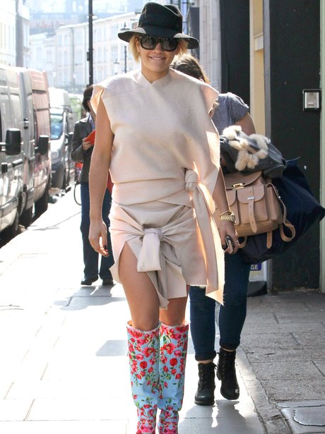 Rita Ora out in London wearing floral boot