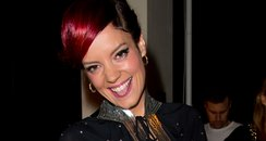 Lily Allen with pink hair