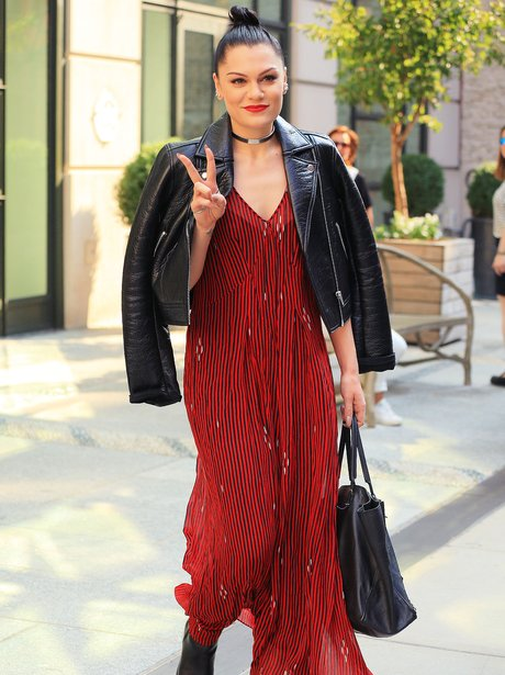 Jessie J wearing a red dress
