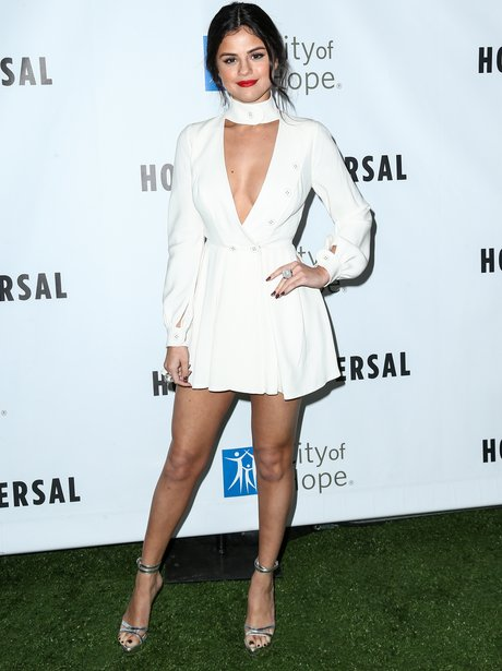 Selena Gomez Low Cut Dress