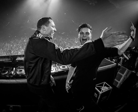 Martin Garrix and Tiesto On Stage