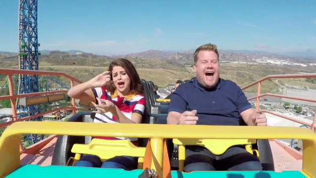Incase You Missed It: Selena Gomez Joined James Corden For Carpool Karaoke AND Rode A Rollercoaster