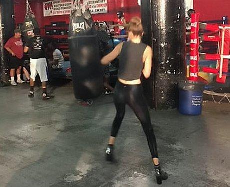 Gigi Hadid boxes in heels